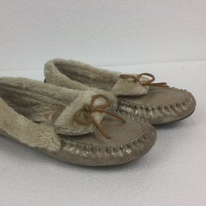 Lucky Brand Leather Faux Fur Lined Moccasins Gold